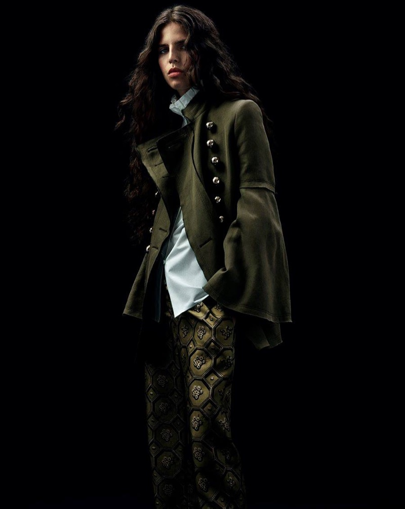 Burberry x Barneys New York Bell-Sleeve Military Jacket, White Ruffled-Neck Blouse and Octagonal-Print Silk Crop Pajama Pants