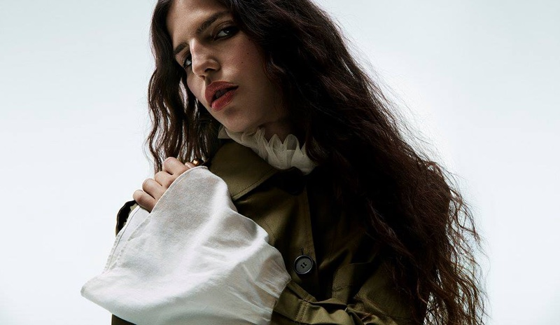 Burberry x Barneys New York Stretch-Cotton Military Jacket and Ruffled-Neck Sleeveless Top