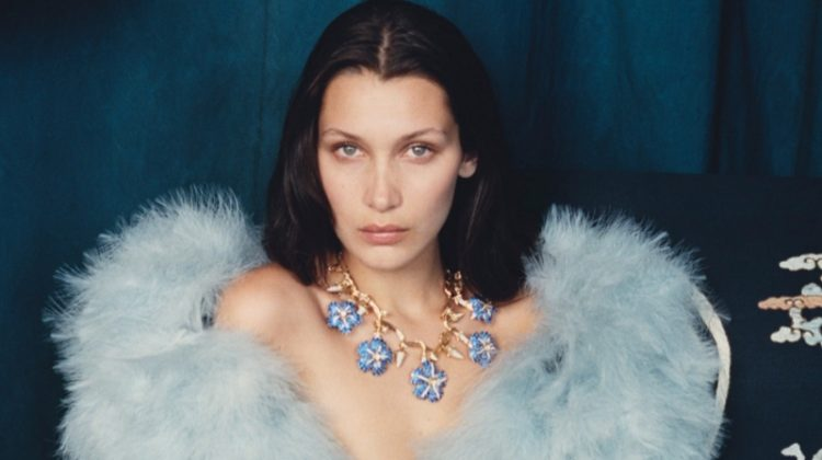 Bella Hadid Lounges in Haute Couture Styles for W Editorial