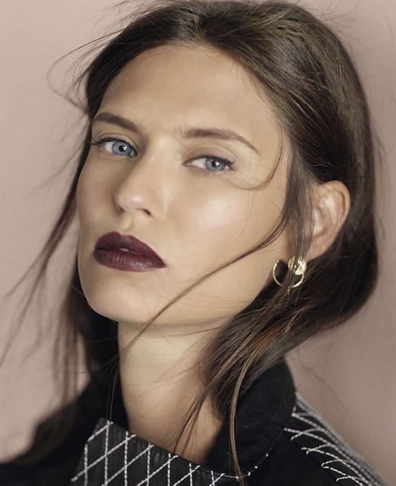 Bianca Balti gets her closeup wearing a plum lipstick shade and messy hair