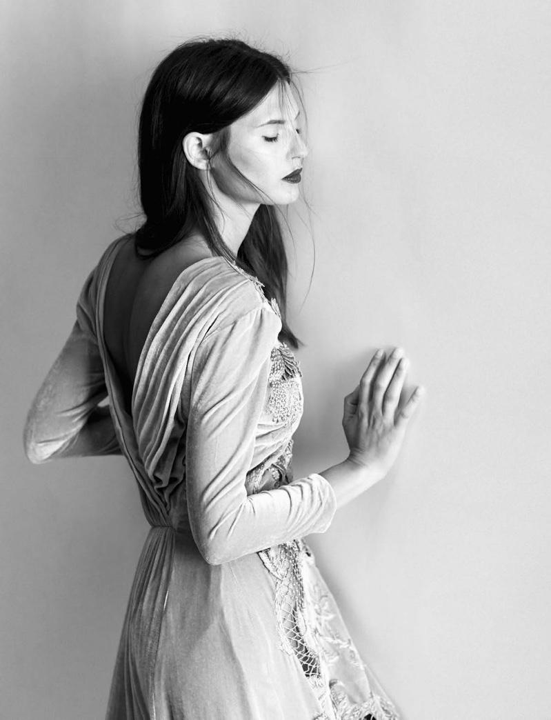 Bianca Balti models embroidered dress