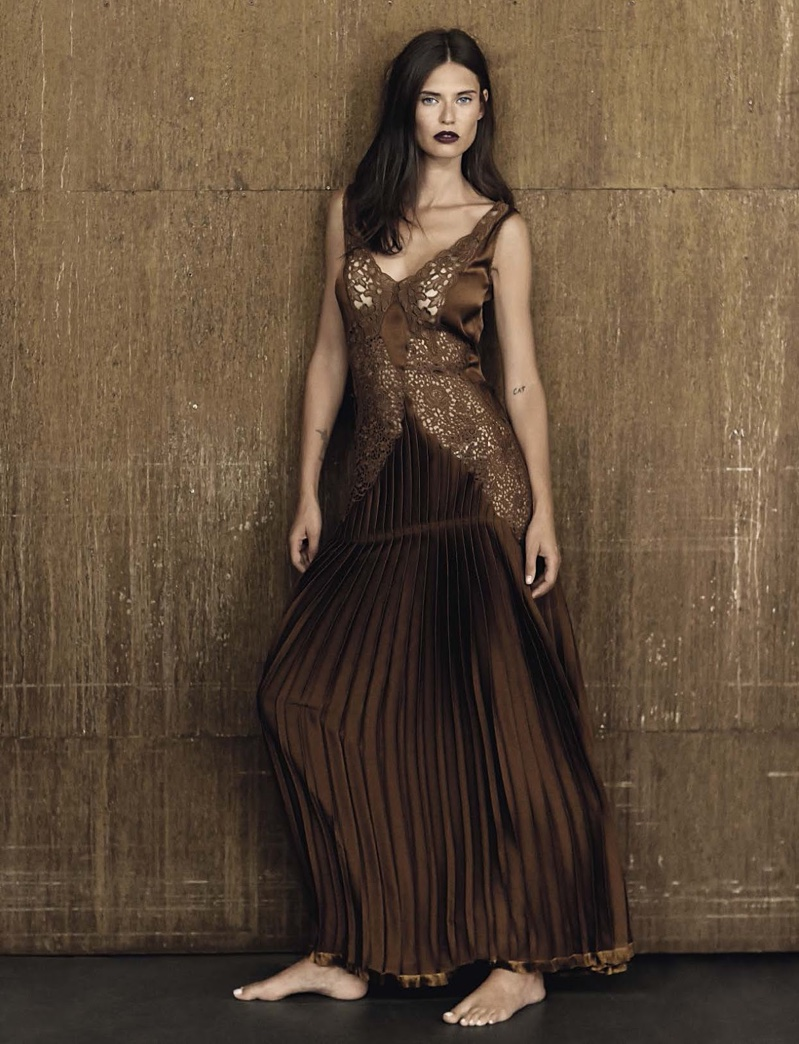 Bianca Balti poses in Stella McCartney slip dress with lace and pleats