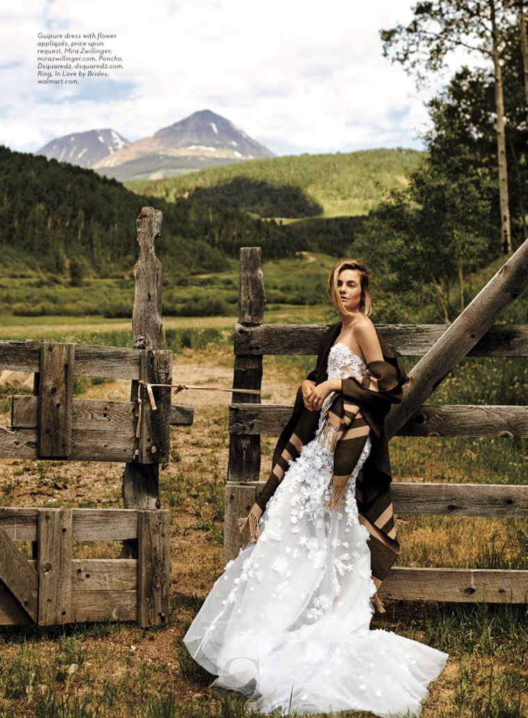 Against the backdrop of the Colorado mountains, Bridget wears Mira Zwillinger dress with DSquared2 poncho