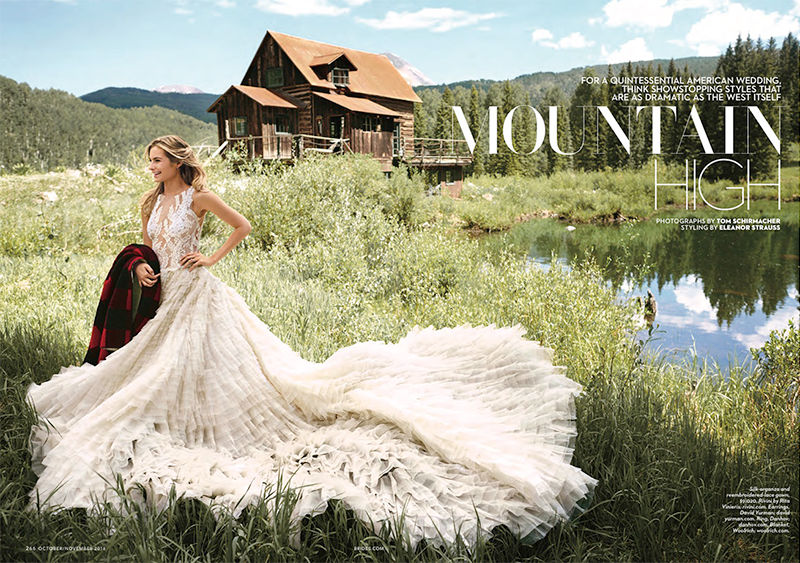 Model Bridget Malcolm poses in wedding dresses for the fashion feature