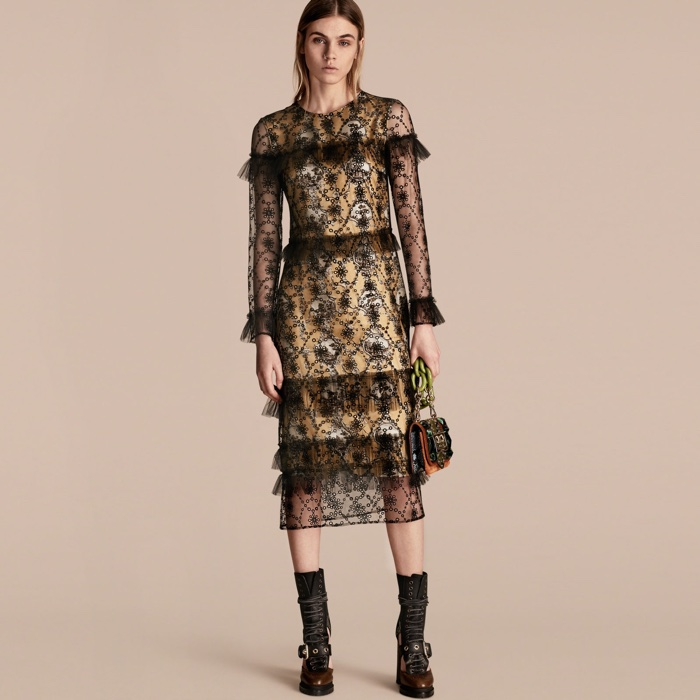 Burberry Embroidered Tulle Dress with Printed Silk Lining