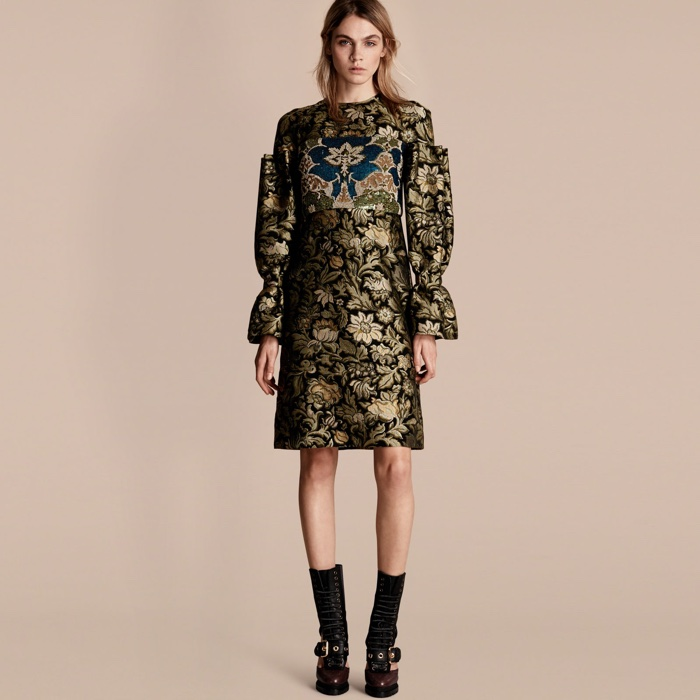 Burberry Floral Tapestry Fil Coupe Sequin Dress