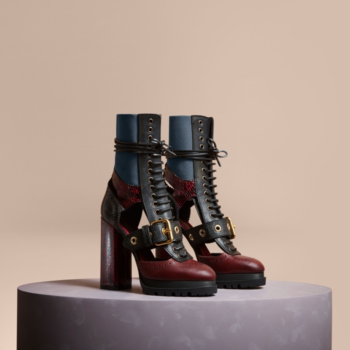Burberry Leather Snakeskin Cut-Out Platform Boots