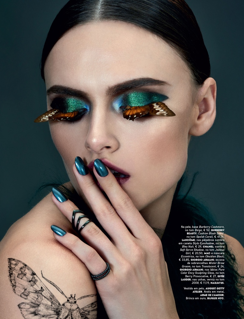Photographed by Jamie Nelson, the model wears butterfly inspired makeup looks
