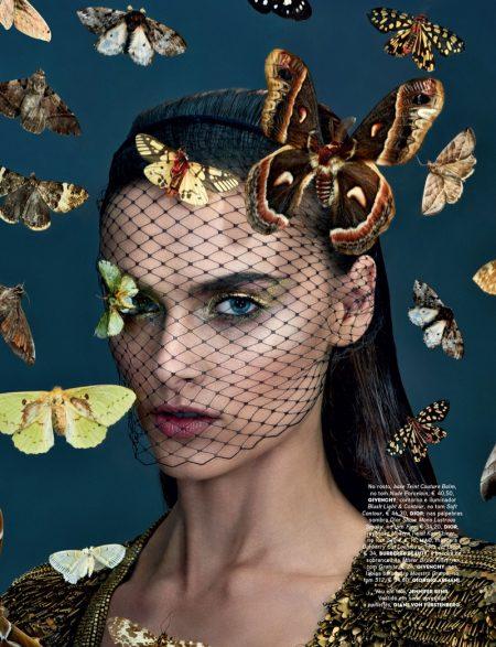 Zuzana Gregorova Tries On Butterfly Beauty for Vogue Portugal