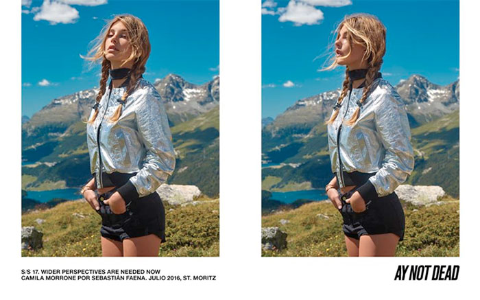 Camila Morrone poses in St. Mortiz for A.Y. Not Dead