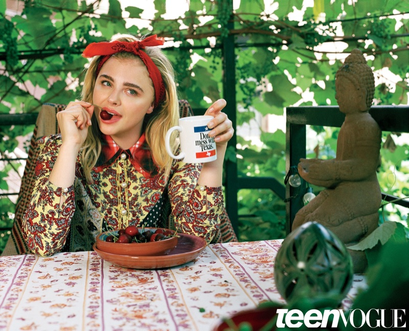 Actress Chloe Grace Moretz wears Coach printed top in the photo session