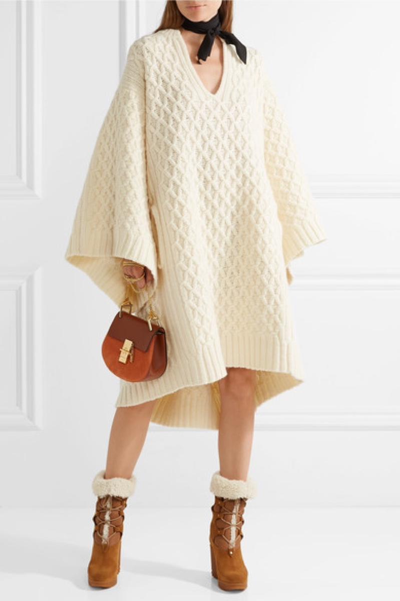 Chloe Oversized Cable Knit Wool Sweater Dress