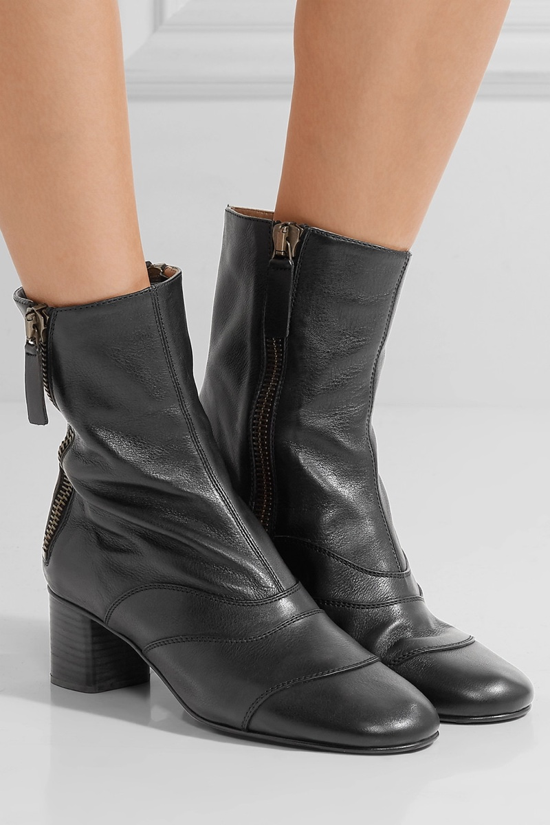 Chloe Paneled Leather Ankle Boots