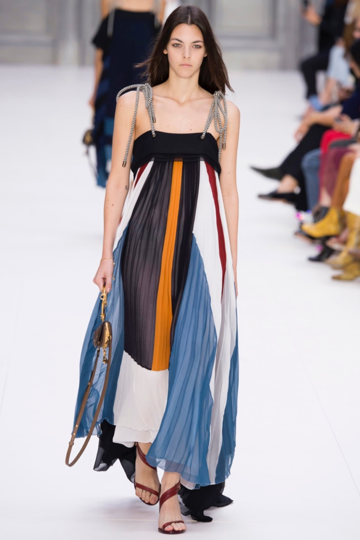 Chloe Spring 2017: Model walks the runway in pleated maxi dress with rope straps
