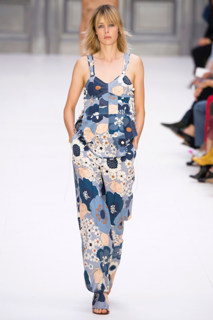 Chloe Spring 2017: Edie Campbell walks the runway in patchwork floral print overalls