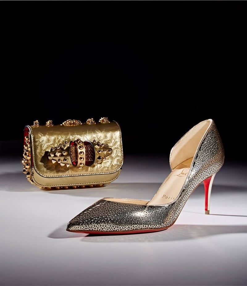 Christian Louboutin Sweety Charity Tudor Mini Chain Bag and Galupump Half D'Orsay Pumps
