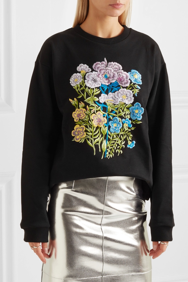 Christopher Kane Floral Embroidered Cotton Jersey Sweatshirt
