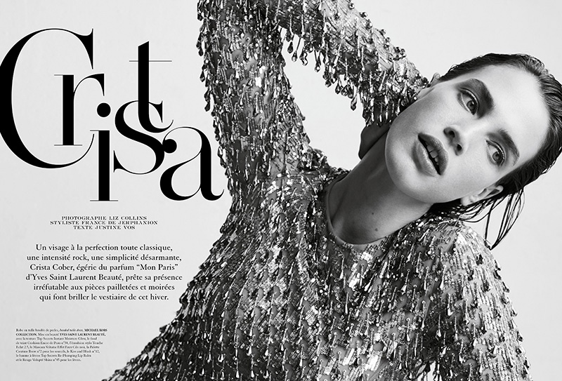 Crista Cober wears heavily embellished designs for the editorial