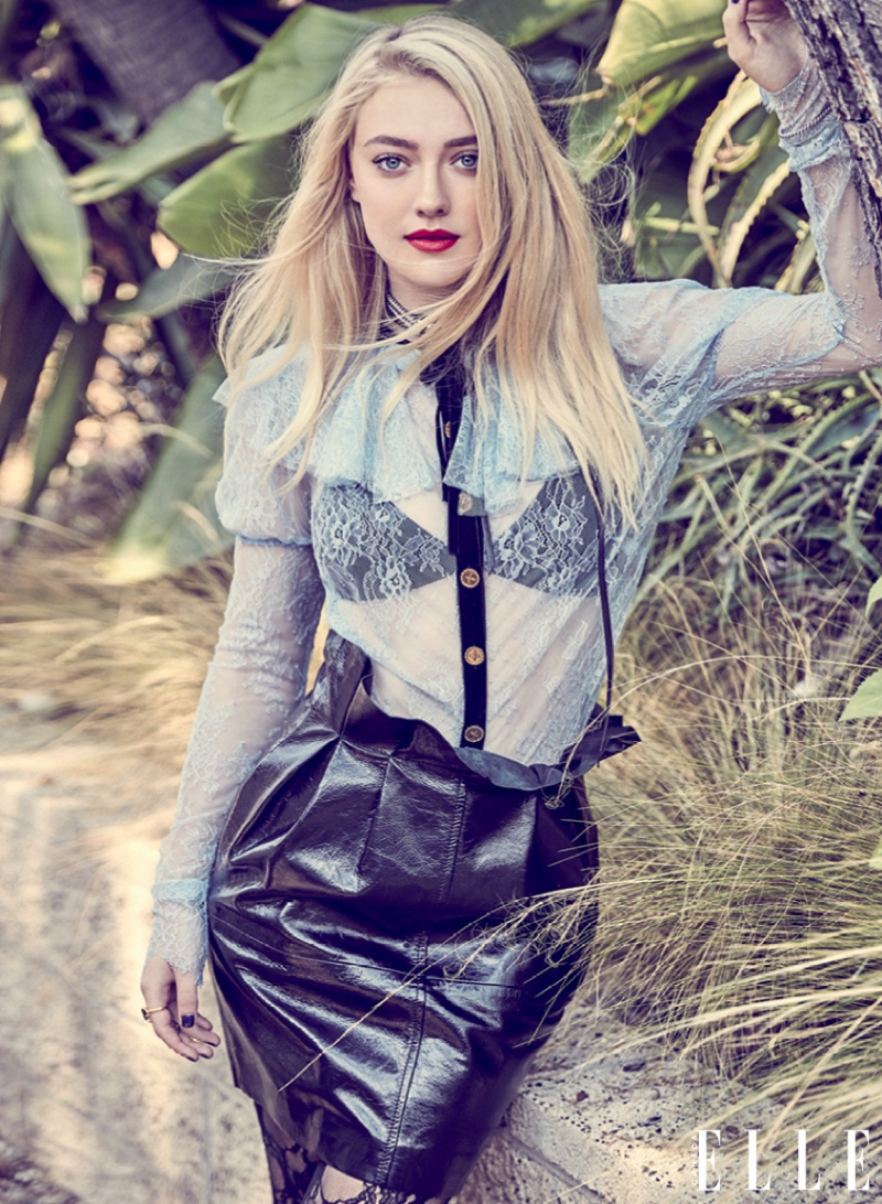 Actress Dakota Fanning wears leather and lace from Philosophy di Lorenzo Serafini