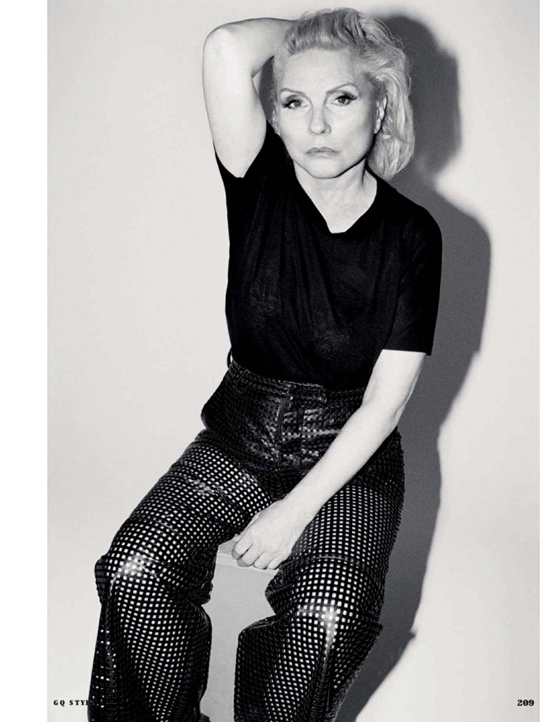 Debbie Harry poses in BOSS t-shirt and J.W. Anderson leather pants