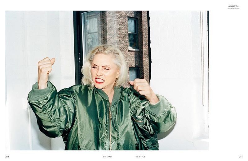Singer Debbie Harry wears Vetements bomber jacket