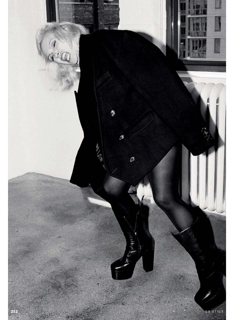 Debbie Harry sports Juun J jacket with DSquared2 boots