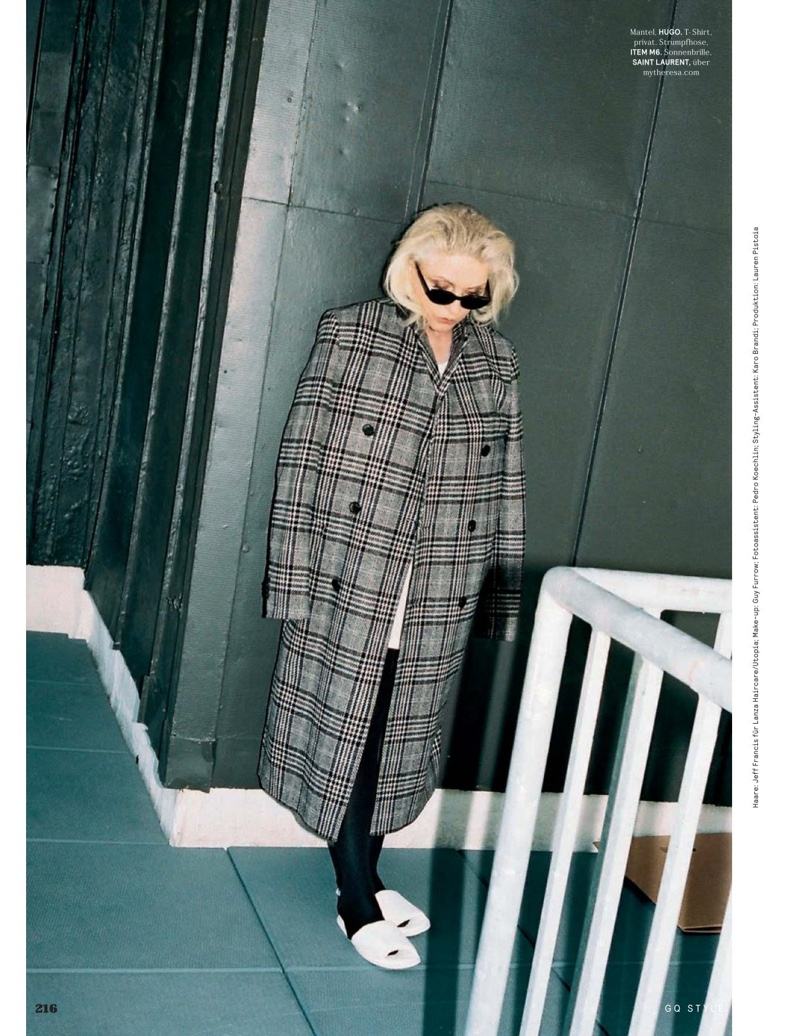 Debbie Harry poses in plaid coat from HUGO Hugo Boss