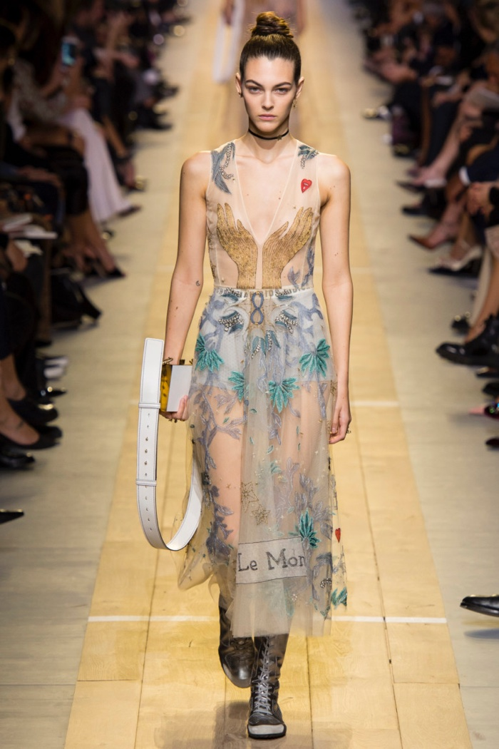 Dior Spring 2017: Model walks the runway in embroidered dress with mystical detail