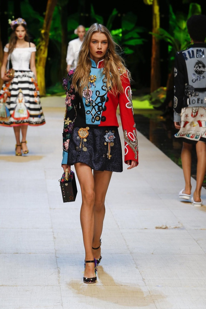 2256da873c Dolce & Gabbana Spring 2017: Stella Maxwell walks the runway in embellished  band jacket with