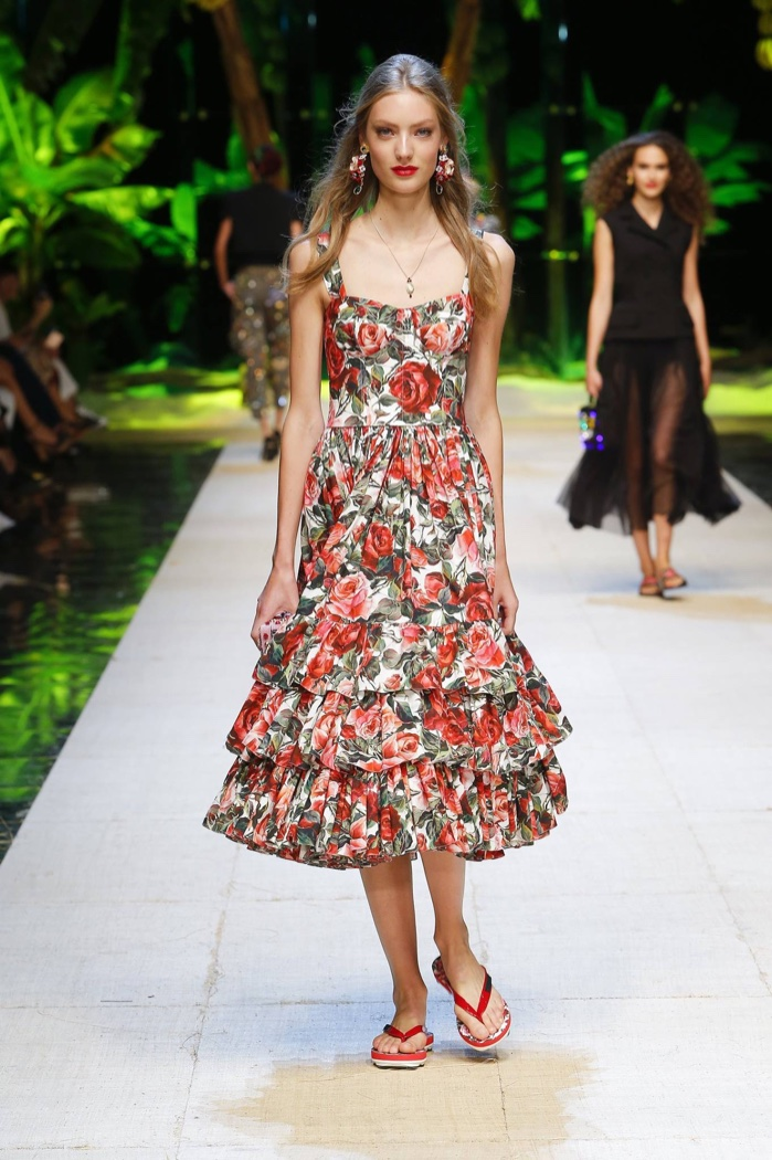 b2af9292 Dolce & Gabbana Spring 2017: Model walks the runway in floral print dress  with ruffle