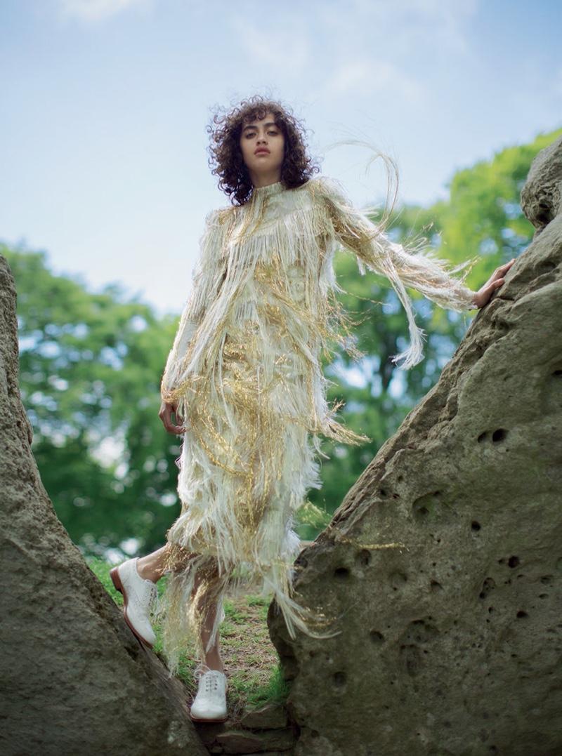 Charlie Harrington models silk fringe dress from Erdem