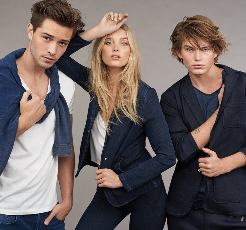Joined by Francisco Lachowski and Jordan Barrett, Elsa Hosk is front and center for Mavi's fall-winter 2016 Indigo Move denim campaign.