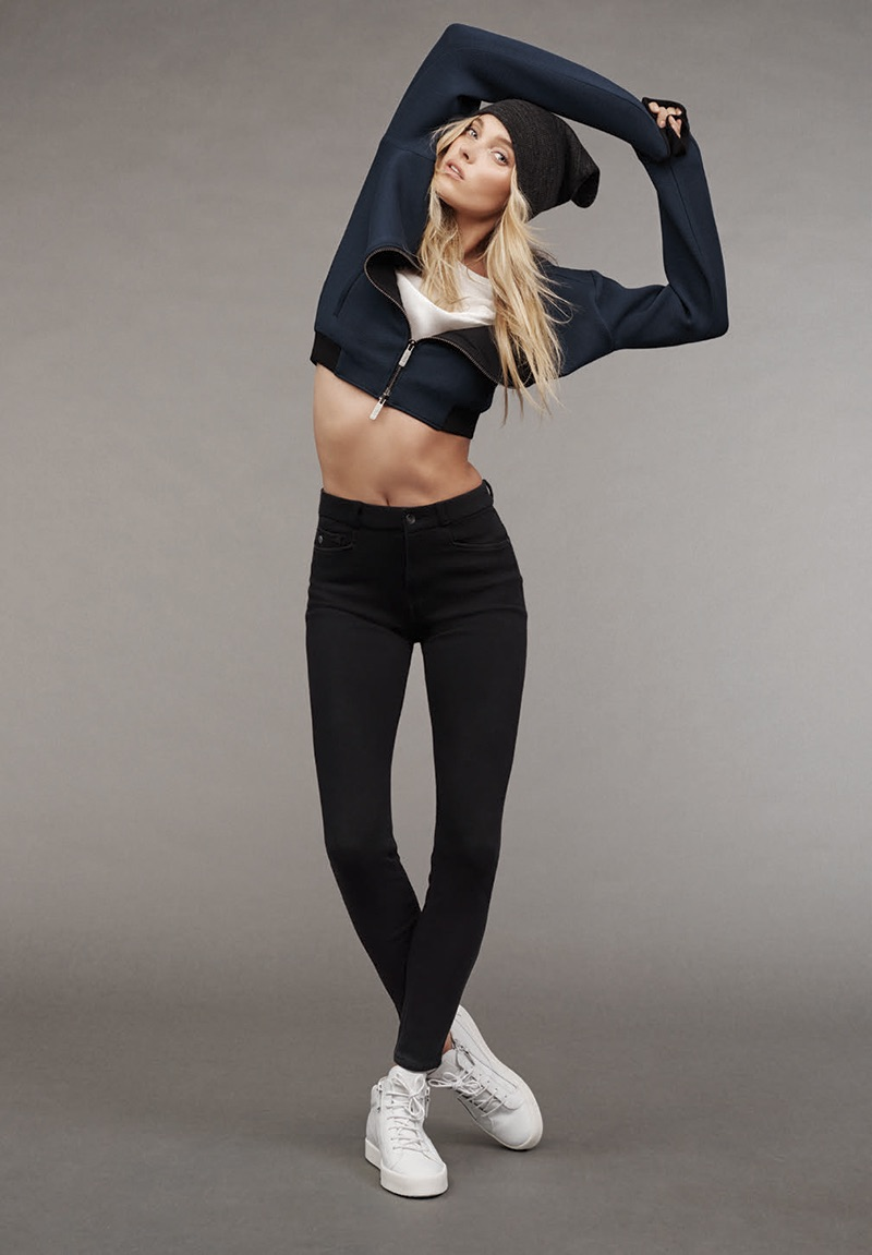 Elsa Hosk is a sporty vision, rocking Mavi's new Indigo Move denim.