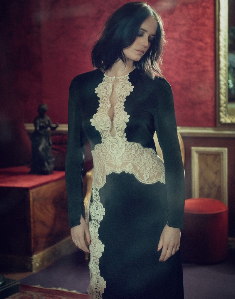 Actress Eva Green wears an Alessandra Rich dress with lace details