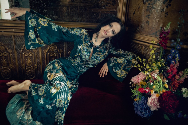 Eva Green poses in embroidered Roberto Cavalli dress with Lanvin dangling earrings