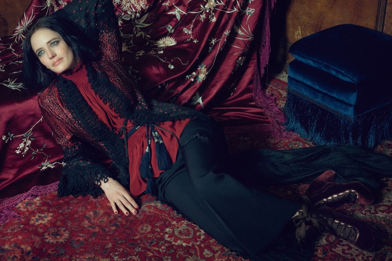 Eva Green poses in Elie Saab jacket and blouse with Stella McCartney pants and Chloe boots