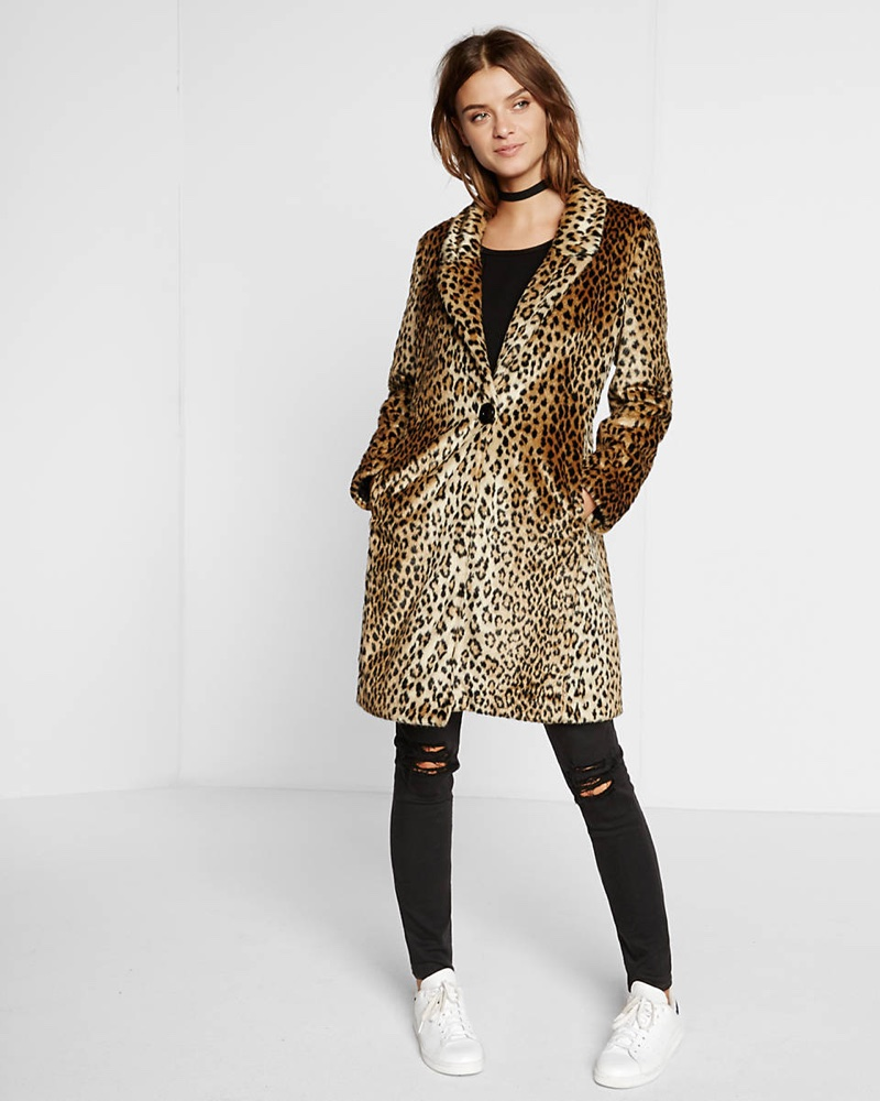 Express Faux Leopard Fur Coat