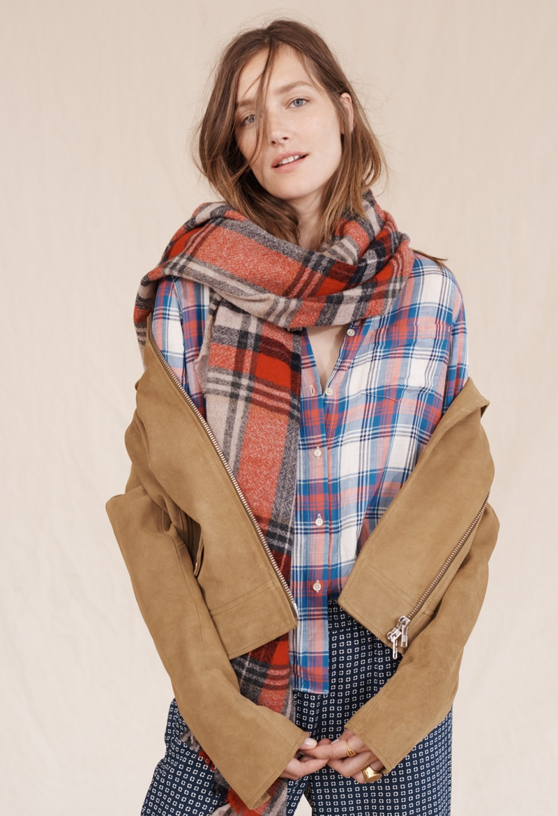 Madewell Suede Motorcycle Jacket, Ex-Boyfriend Shirt and Rangeplaid Scarf