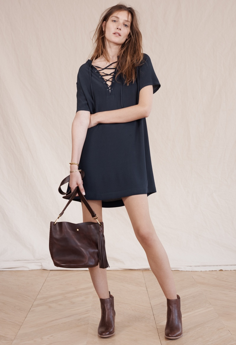 Madewell Novella Lace-Up Dress, Frankie Chelsea Boot and Rivet & Thread Mini Bucket Bag