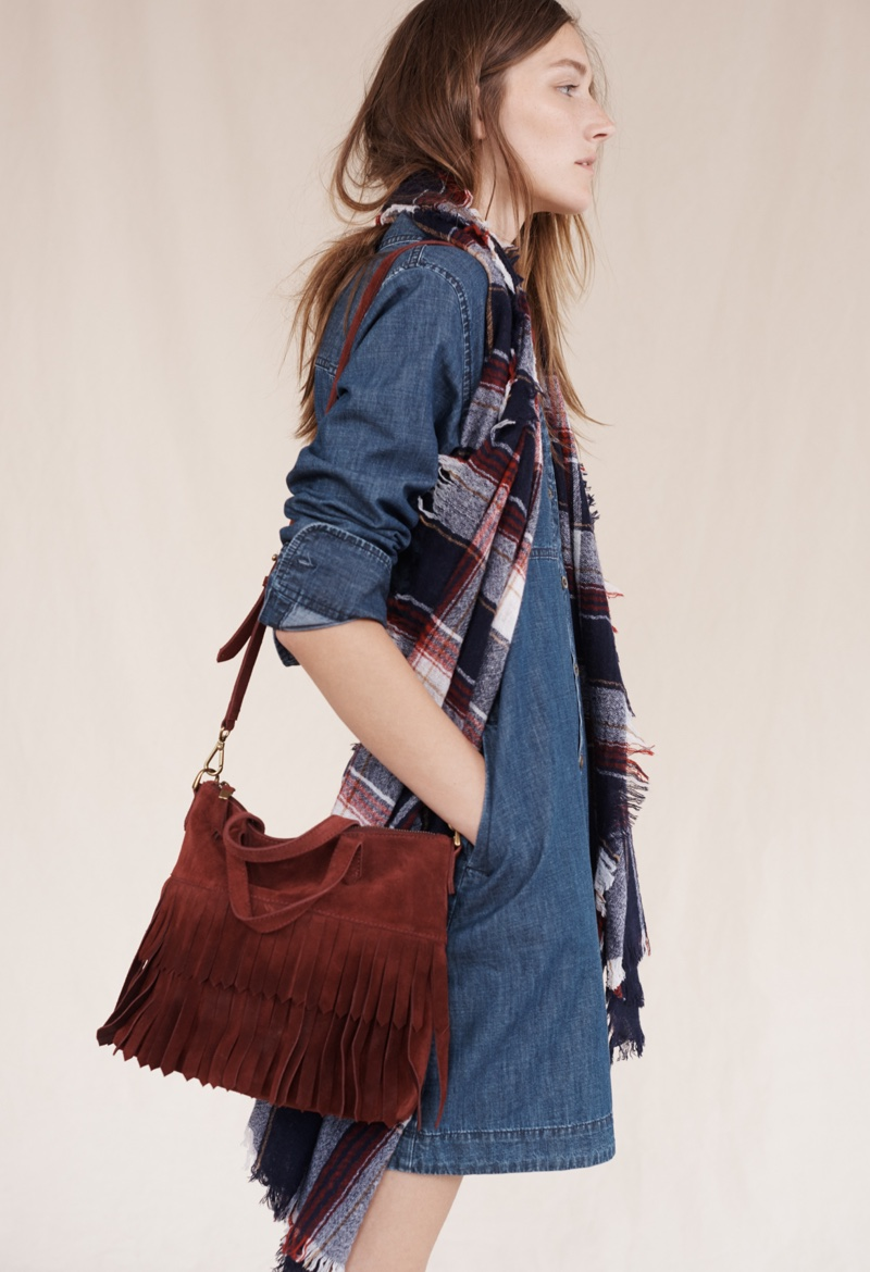 Madewell Denim Shirtdress, Suede Fringe Transport Crossbody Bag and Rangeplaid Scarf