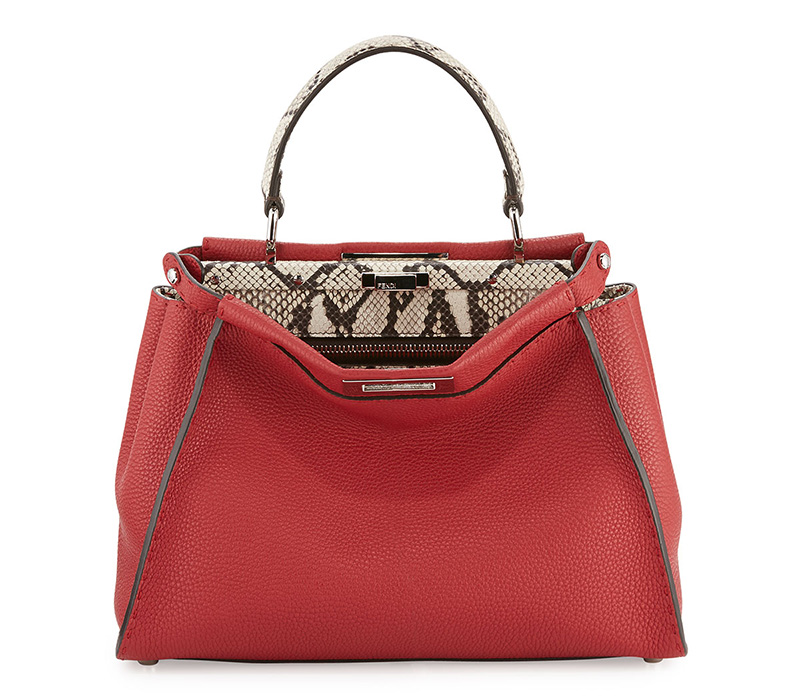 Fendi Selleria Peekaboo Medium Python Satchel Bag