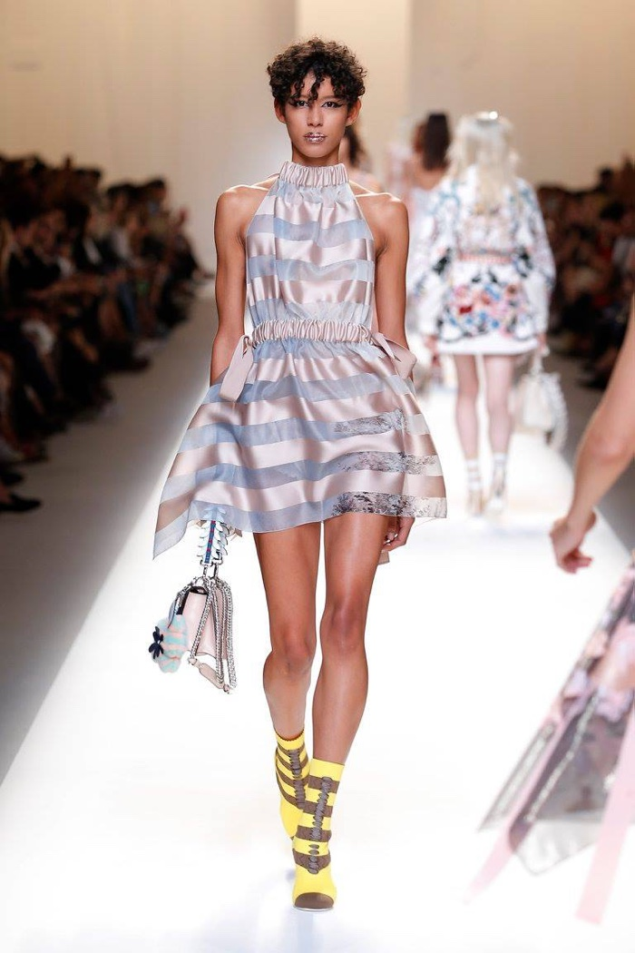 Fendi Spring 2017: Diione walks the runway in striped minidress with ruching