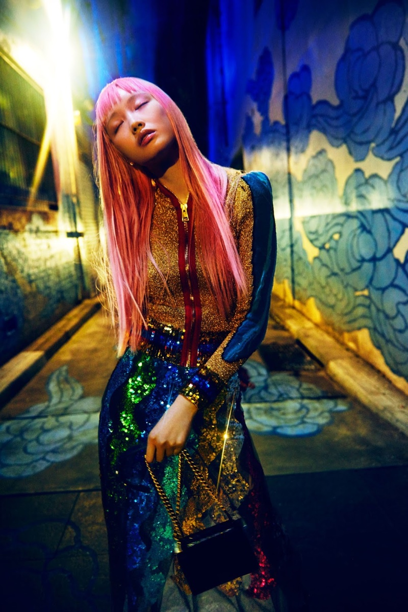 Fernanda Ly shines in Gucci top and sequin-embellished skirt