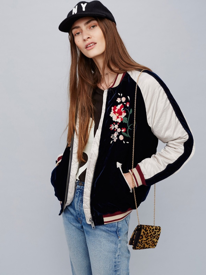 Free People Floral Embroidered BomberJacket