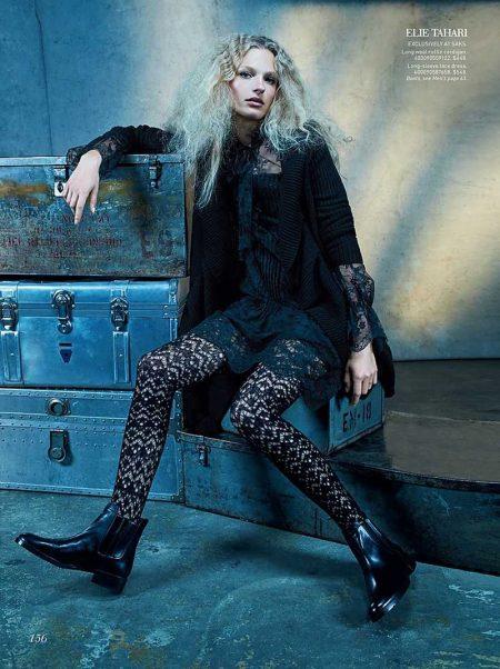 Frederikke Sofie Gets Dark in Grunge Styles for Saks Fifth Avenue