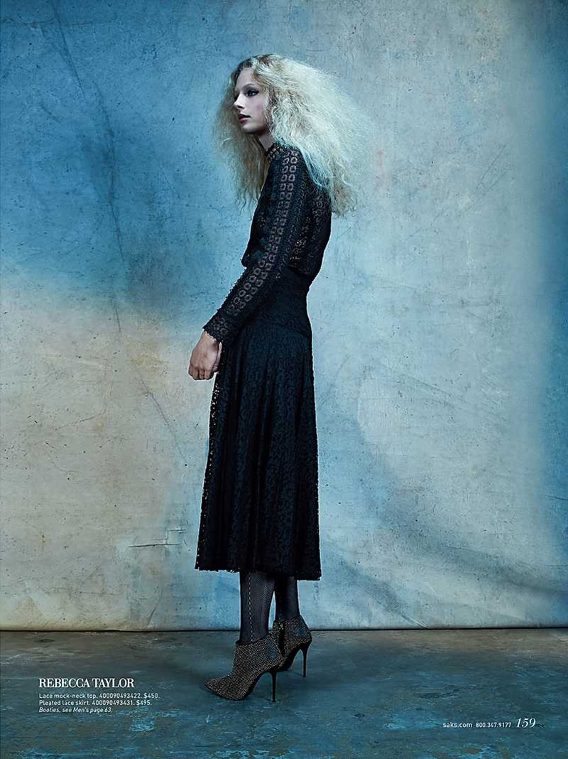 Frederikke Sofie wears lace top and skirt from Rebecca Taylor