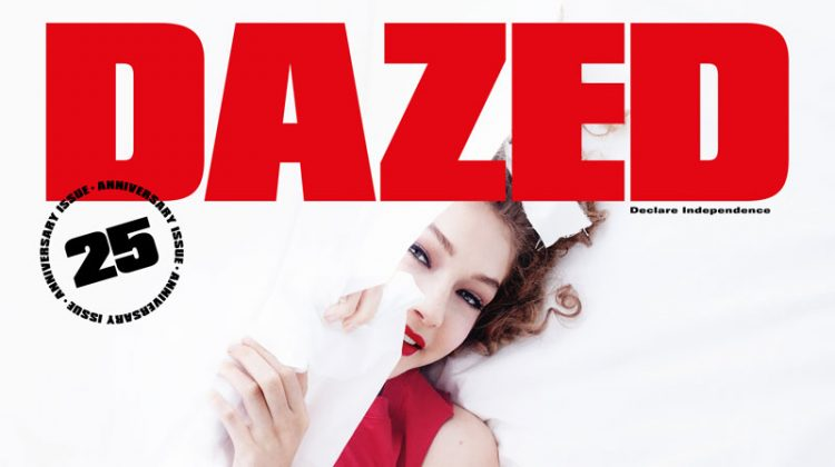 Gigi Hadid Poses Between the Sheets for Dazed's 25th Anniversary Issue