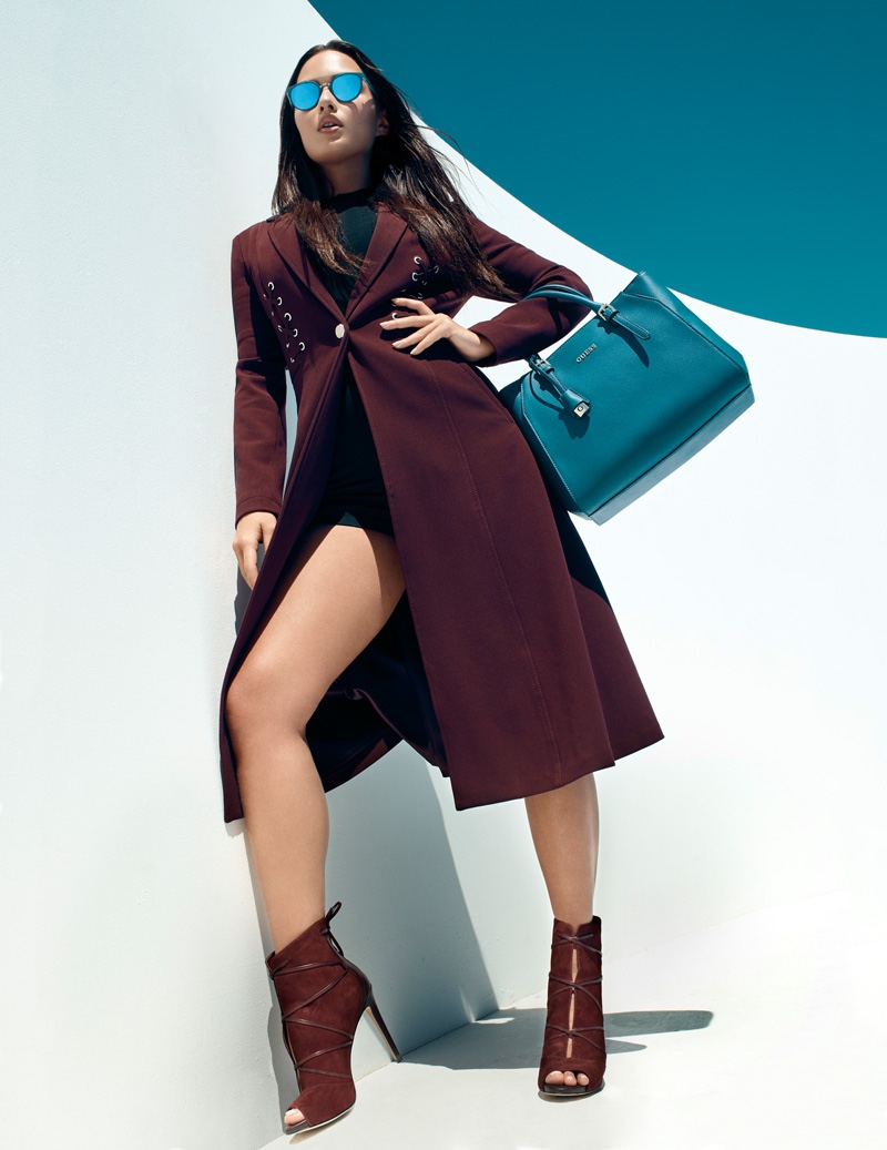 Guess features satchel bag in fall 2016 Accessories campaign