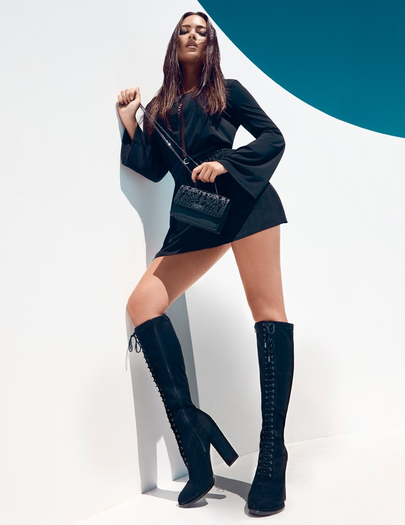 Mia Kang flaunts her legs in Guess Accessories' fall 2016 campaign