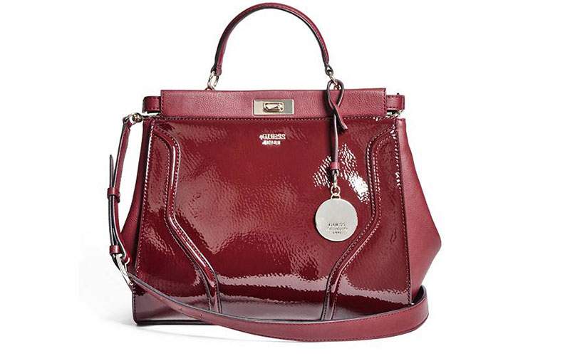 Guess Georgie Patent Satchel Bag